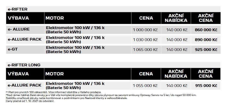 ceník e-rifter