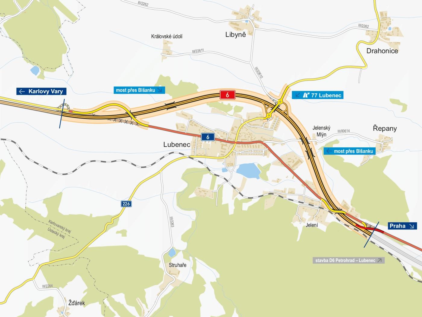 Dálnice D6 bude dnes o téměř 5 km delší, stále je to ale málo