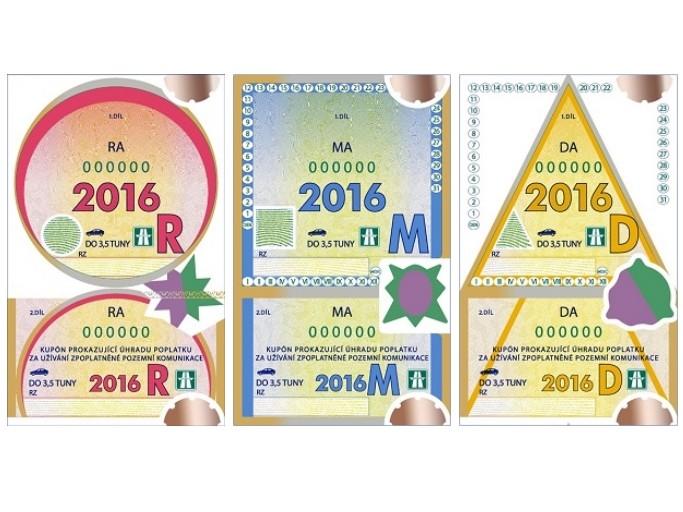 Dálniční známky pro rok 2016 - nový design, ceny stejné
