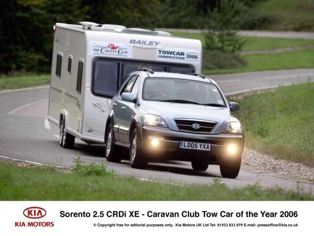 Sorento nejlepším vozem pro tahání karavanů v Británii