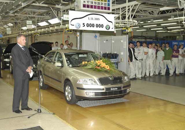 Škoda Auto vyrobila od spojení s koncernem Volkswagen již 5 000 000 vozů