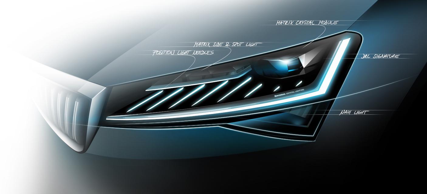 Modernizovaná Škoda Superb odhaluje nové Full LED světlomety a dynamické světelné funkce